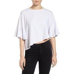 Kendall + Kylie Asymmetrical Flutter Sleeve Top